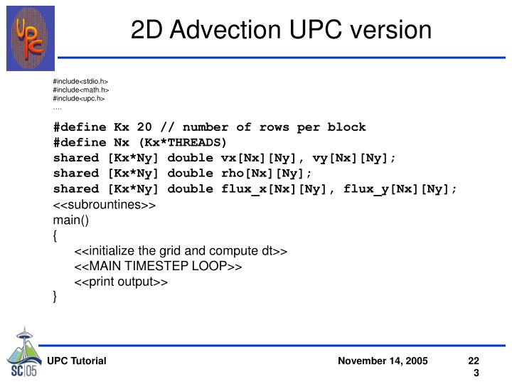 2D Advection UPC version
