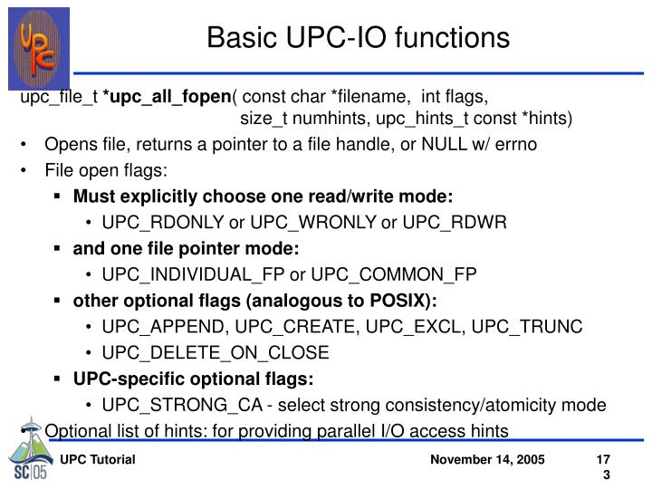 Basic UPC-IO functions