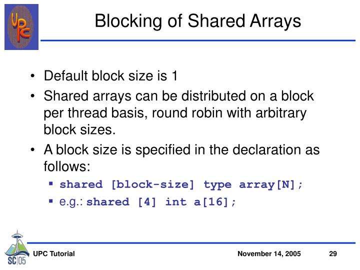 Blocking of Shared Arrays
