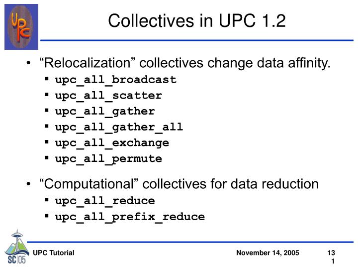 Collectives in UPC 1.2
