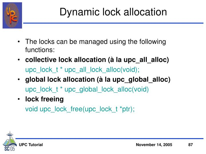 Dynamic lock allocation