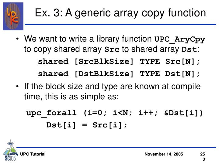 Ex. 3: A generic array copy function