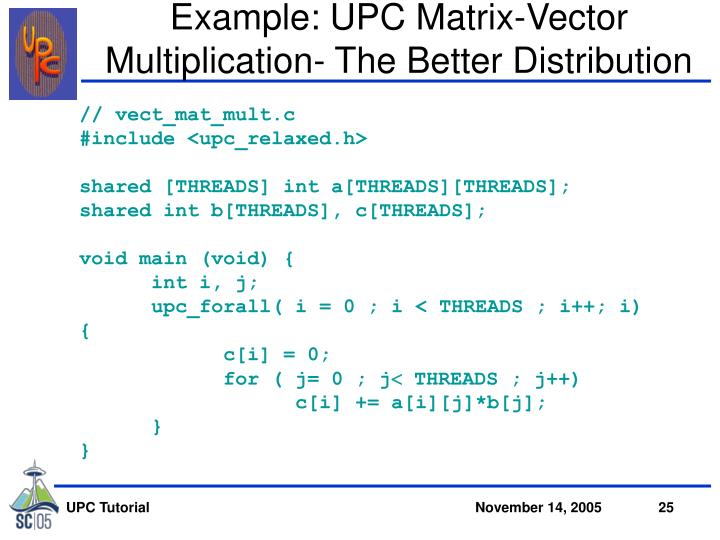 Example: UPC Matrix-Vector Multiplication- The Better Distribution