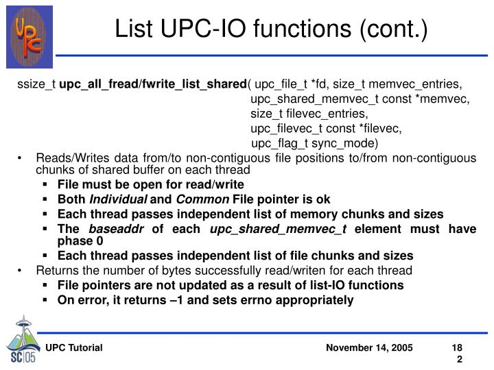 List UPC-IO functions (cont.)