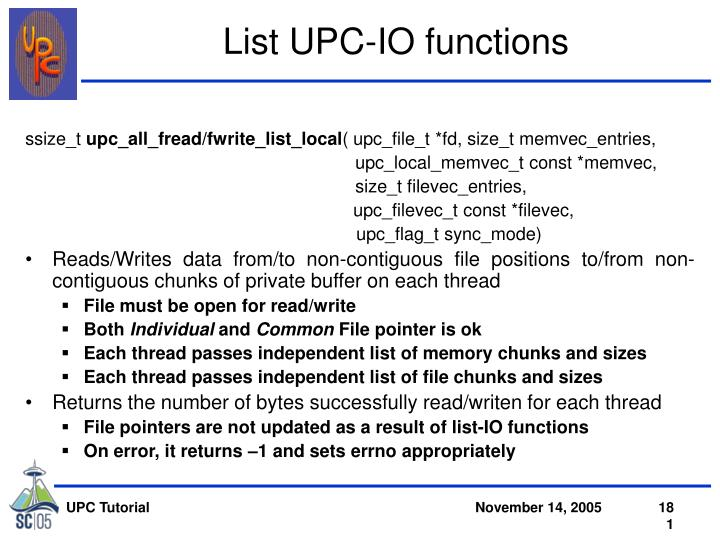 List UPC-IO functions
