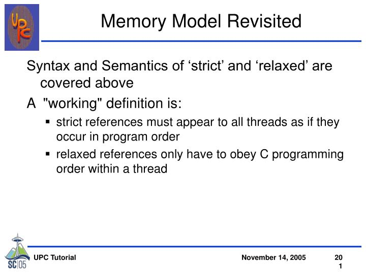 Memory Model Revisited