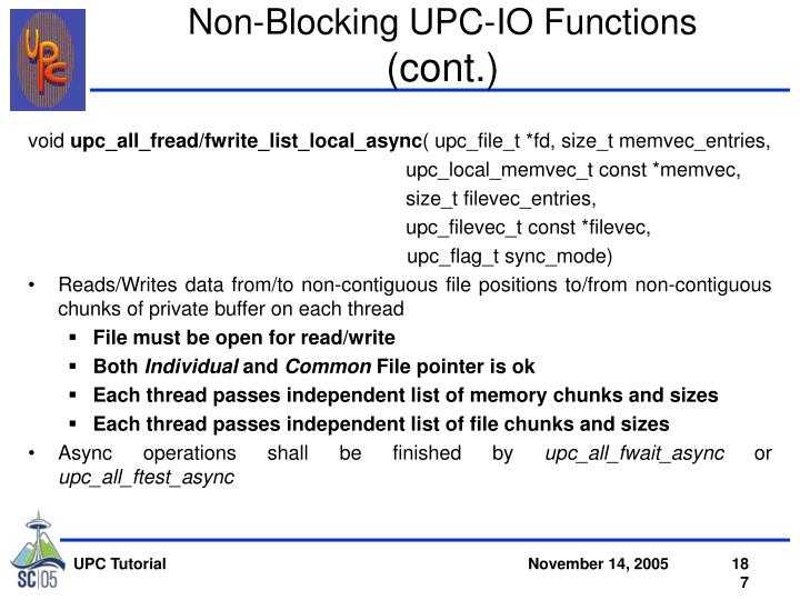 Non-Blocking UPC-IO Functions
