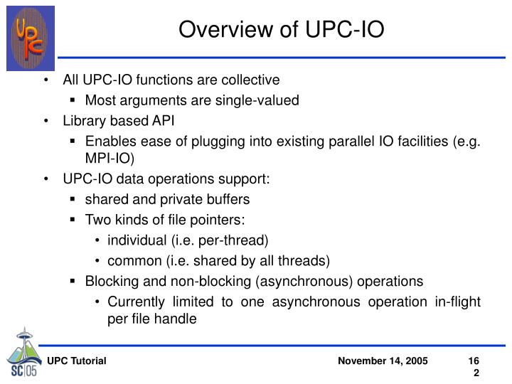 Overview of UPC-IO