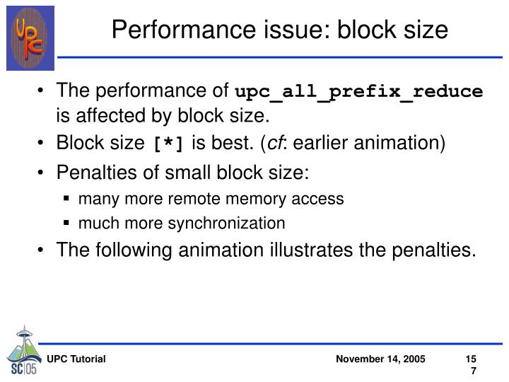 Performance issue: block size