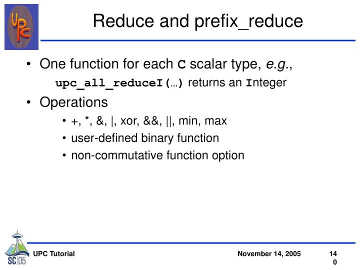 Reduce and prefix_reduce