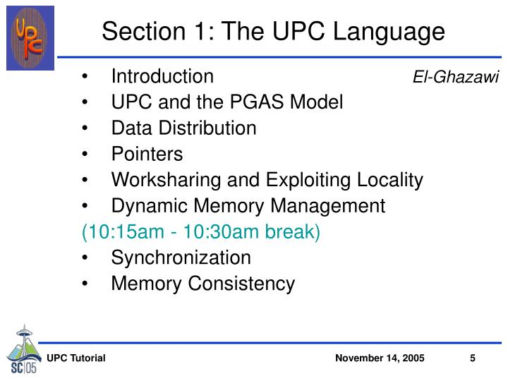 Section 1: The UPC Language