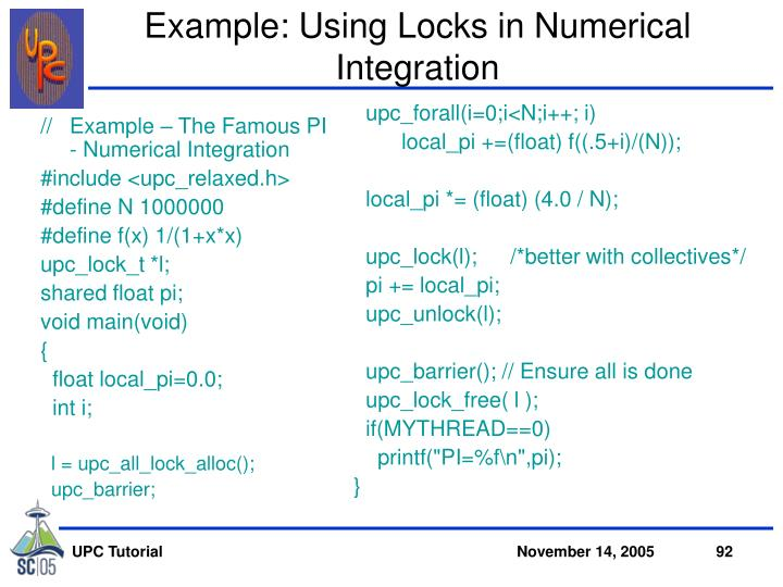 Example: Using Locks in Numerical Integration