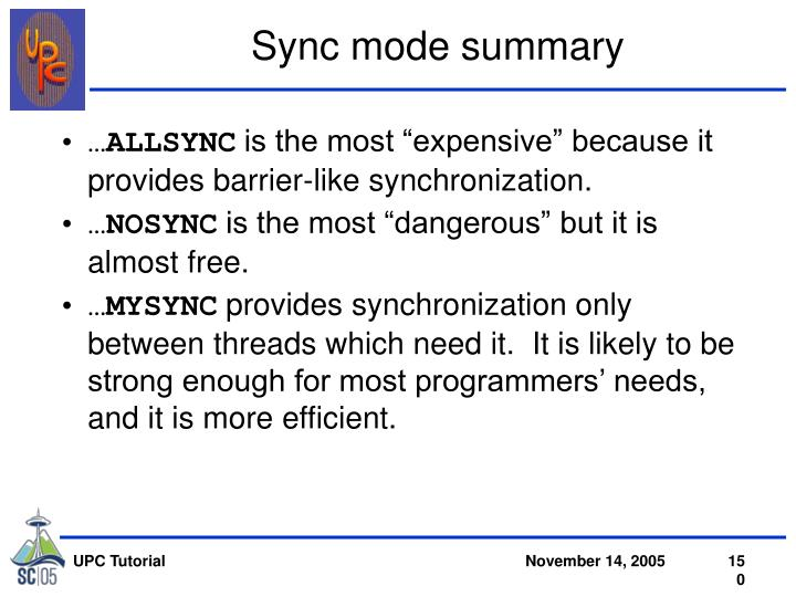 Sync mode summary