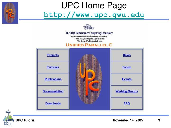 UPC Home Page