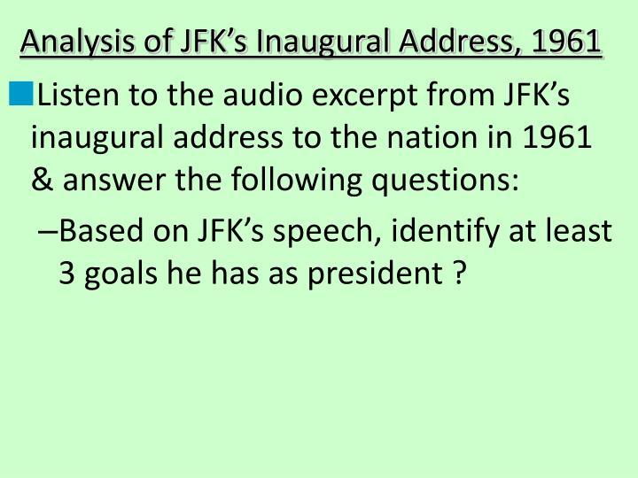 Analysis of JFK's Inaugural Address, 1961