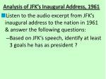 analysis of jfk s inaugural address 1961