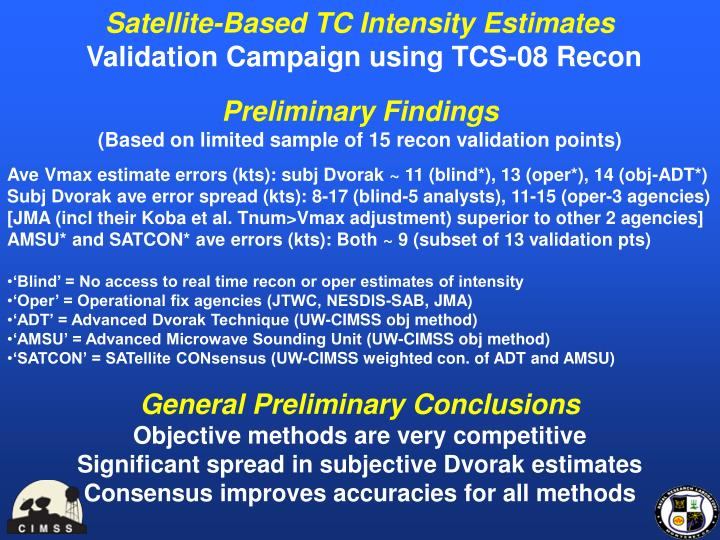 Satellite-Based TC Intensity Estimates
