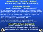 satellite based tc intensity estimates validation campaign using tcs 08 recon1