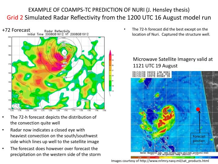 EXAMPLE OF COAMPS-TC PREDICTION OF NURI (J. Hensley thesis)