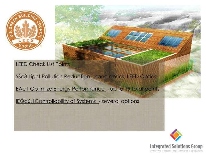 LEED Check List Points