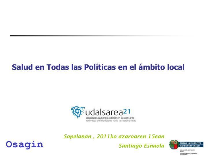 Salud en Todas las Políticas en el ámbito local