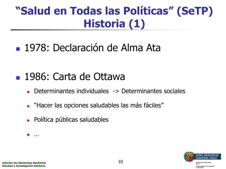 """""""Salud en Todas las Políticas"""" (SeTP)"""