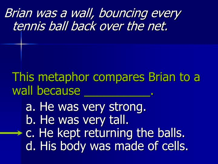 Brian was a wall, bouncing every tennis ball back over the net.