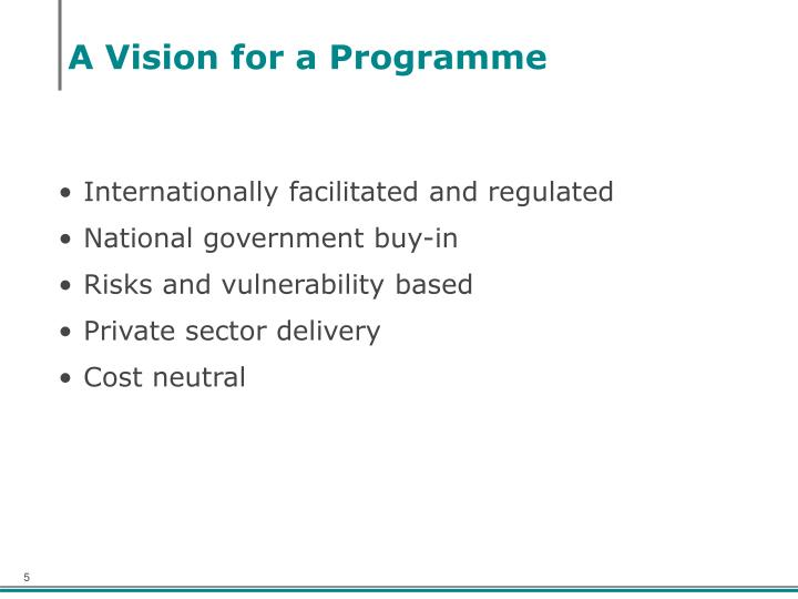A Vision for a Programme