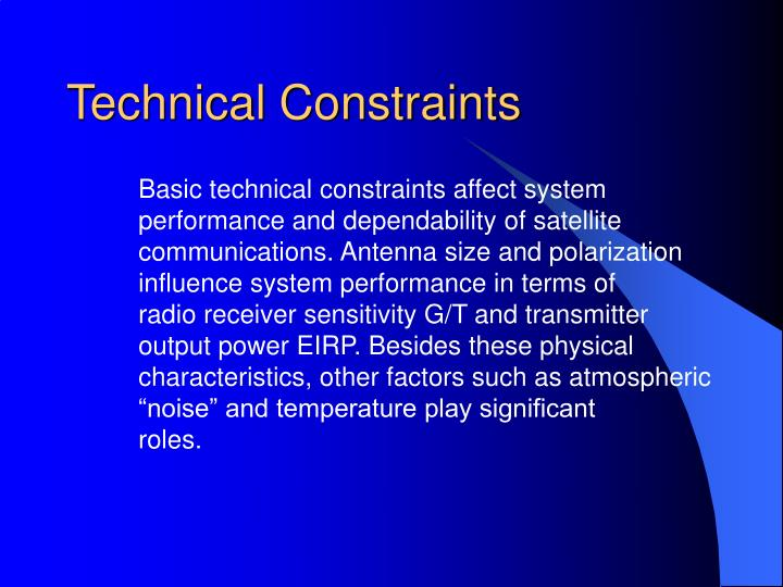 Technical Constraints