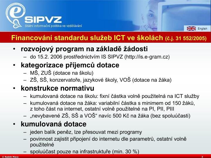 Financování standardu služeb ICT ve školách