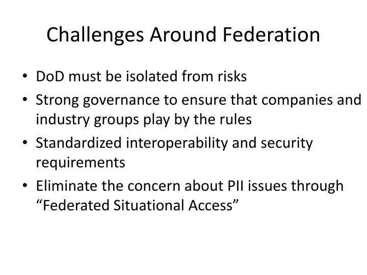 Challenges Around Federation