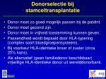 donorselectie bij stamceltransplantatie