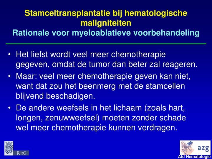 Stamceltransplantatie bij hematologische maligniteiten