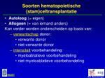 soorten hematopoietische stam celtransplantatie