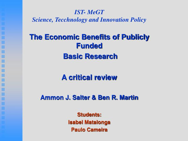 Ist megt science tecchnology and innovation policy