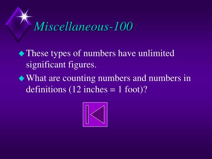 Miscellaneous 100