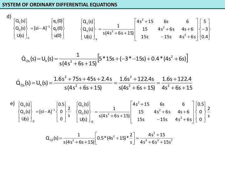 SYSTEM OF ORDINARY DIFFERENTIAL EQUATIONS