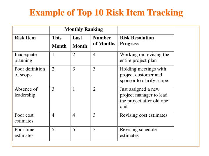 Example of Top 10 Risk Item Tracking