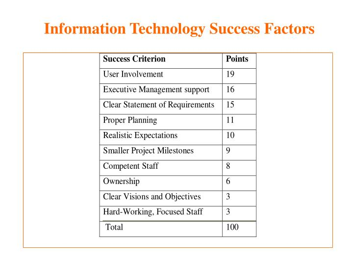 Information Technology Success Factors