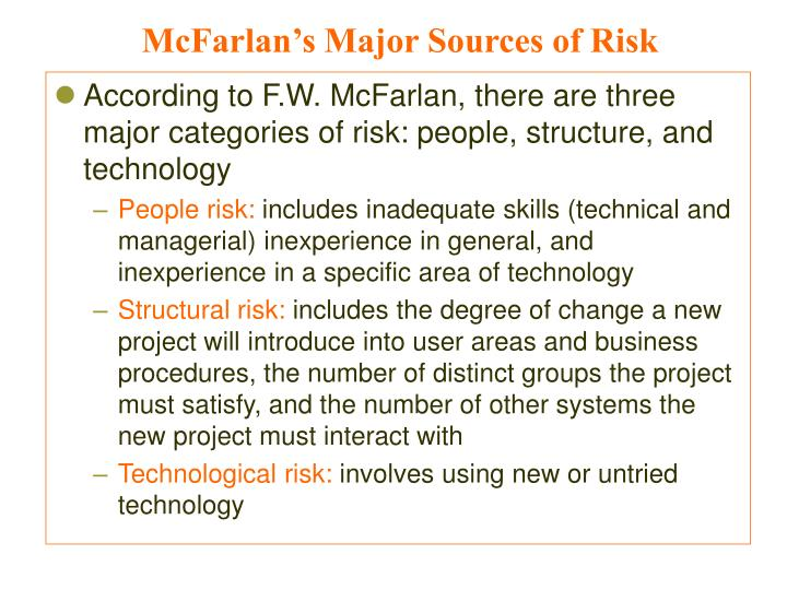 McFarlan's Major Sources of Risk
