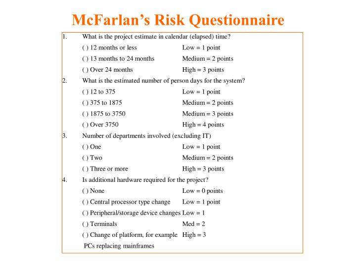 McFarlan's Risk Questionnaire