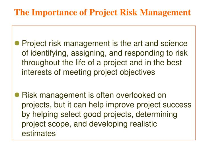 The importance of project risk management