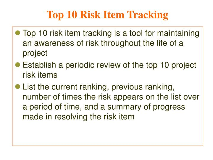 Top 10 Risk Item Tracking