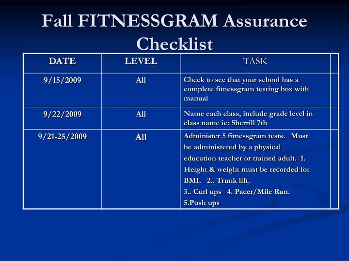 Fall FITNESSGRAM Assurance Checklist