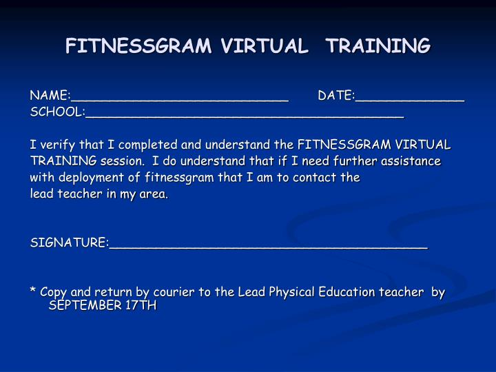 FITNESSGRAM VIRTUAL  TRAINING