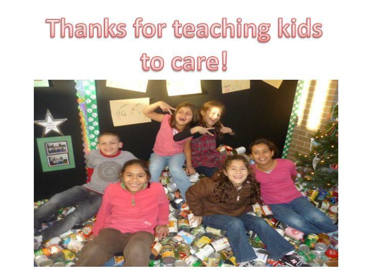 Thanks for teaching kids