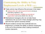 constraining the ability to vary employment levels at will cont