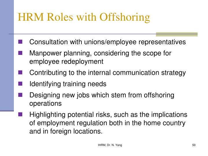 HRM Roles with Offshoring