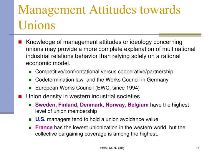 Management Attitudes towards Unions