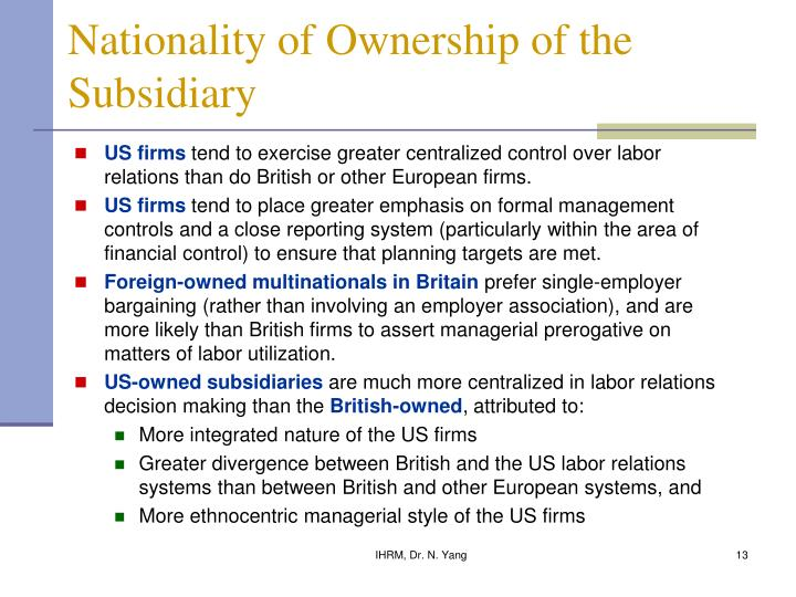 Nationality of Ownership of the Subsidiary